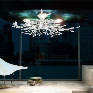 Decken Leuchte Beleuchtung Acryl Blätter verchromt Wohnzimmer Lampe Lüster Licht