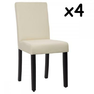 Dining Chairs Set of 4 Beige Elegant Design Modern Fabric Upholstered B164