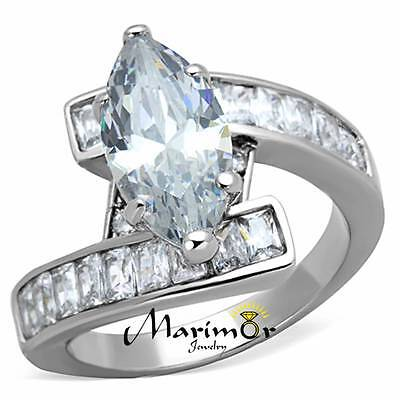 Marquise Cut Emerald (4.4CT MARQUISE & EMERALD CUT CUBIC ZIRCONIA STAINLESS STEEL ENGAGEMENT RING)