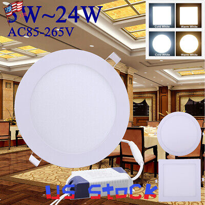 LED Light 3W~24W Ceiling Round Square Panel Recessed Downlight Ultra Slim US