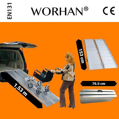 WORHAN® 1.53m Rampa Plegable Silla de Ruedas Discapacitado Movilidad Aluminio R5