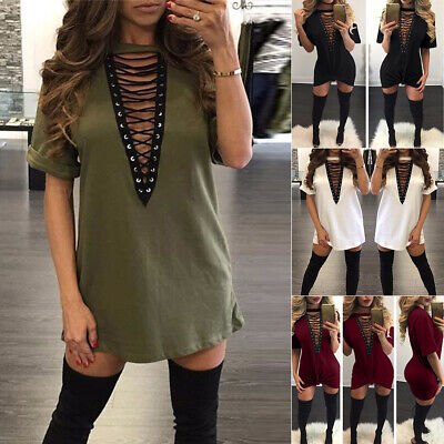 Sexy Women V Neck Lace Up Long Tops Casual Loose T-Shirt Plunge Party Mini Dress