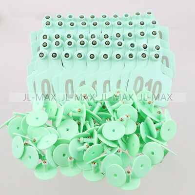 100 Sets Green Ear Tag With 1-100 Number For Cow Cattle Large Livestock