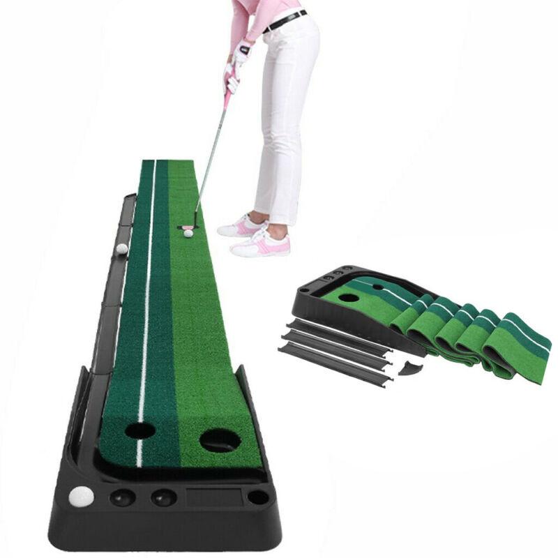 8.2ft Golf Green Grass Putting Mat Trainer Practice Mat Auto Ball Return Indoor