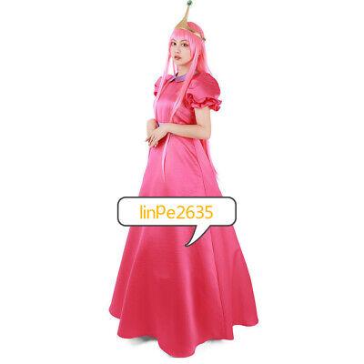Adventure Time Princess Bubblegum Cosplay Costume Dress with Crown &](Princess Bubblegum Clothes)