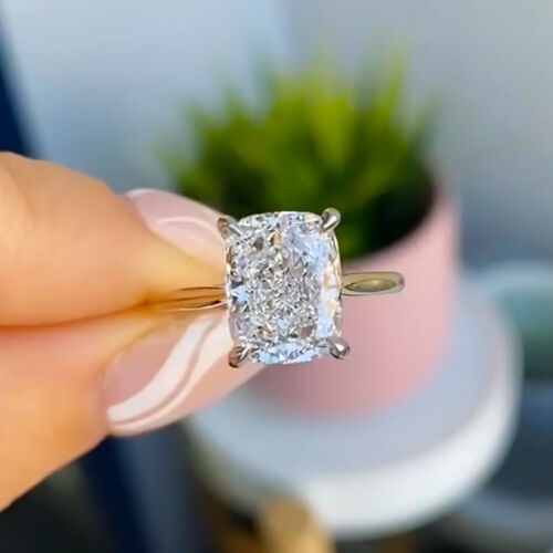 2.7 Ct Cushion Cut Ice Crushed Moissanite Engagement Ring 14K Yellow Gold Plated
