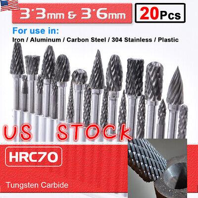 20pcs Head Tungsten Carbide Rotary Burr Die Grinder Bit Shank Carving Set 6mm Us