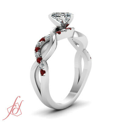 1 Ct Heart Shaped Diamond & Red Ruby Pave Set Engagement Ring Solid 14K Gold GIA 2