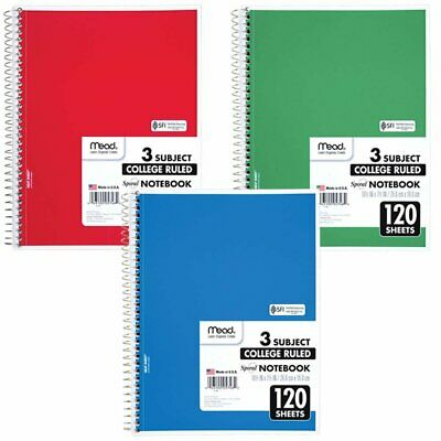 Mead Spiral Notebook 3 Subject College Ruled Paper 120 Sheets 10-12 X...