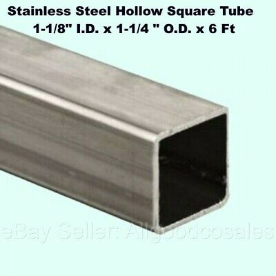 Stainless Steel Hollow Square Tube 1-18 I.d. X 1-14 O.d. X 6 Ft Long 304