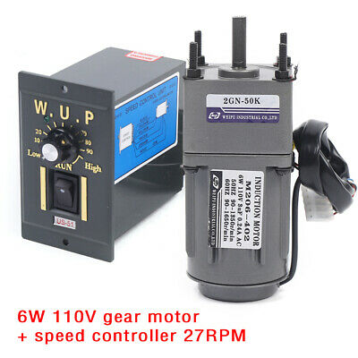 Upgrade110v 6w 50k Ac Gear Motor Electric Variable Speed Controller 270rpm