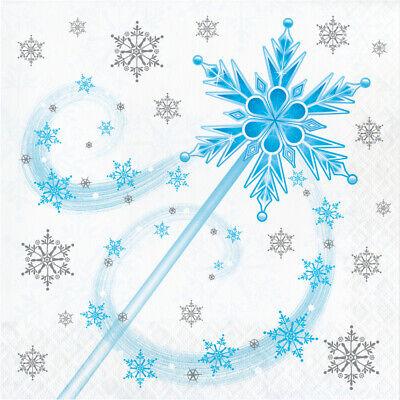 16 X Eiskönigin Schneeflocken & Prinzessin Zauberstab Papierservietten - Schneeflocke Zauberstab