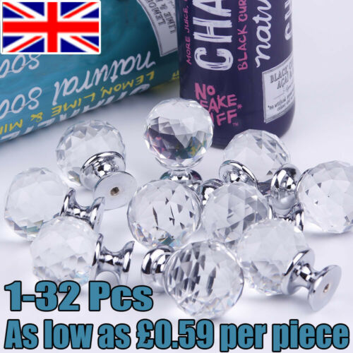 16//32pcs Crystal Glass Door Knobs Diamond Furniture Drawer Cabinet Pull Handle