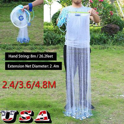 - 8FT-16FT Hand Cast Fishing Net Spin Network 3/4'' Easy Throw Bait Nylon Mesh US