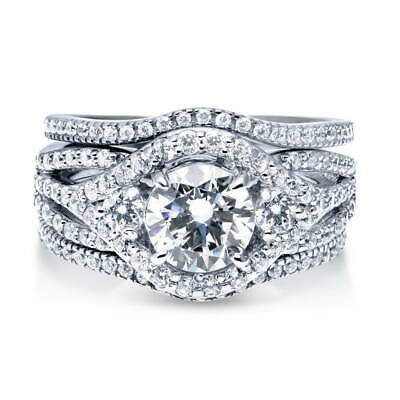BERRICLE Sterling Silver CZ 3-Stone Anniversary Engagement W