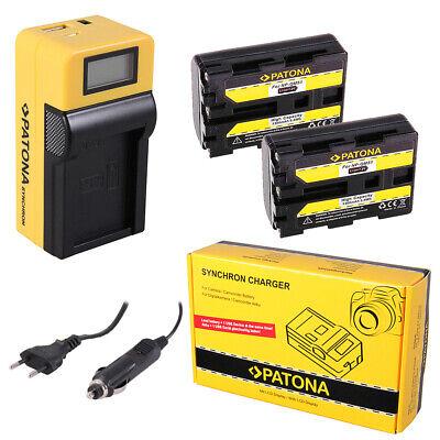 2x Batteria Patona + caricabatteria Synchron LCD USB per Sony HVR-A1,HVR-A1E