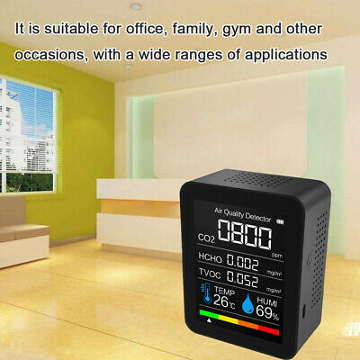 Portable Co2 Ppm Meter Hcho Tvoc Monitor Indoor Lcd Air Quality Detector S2t6