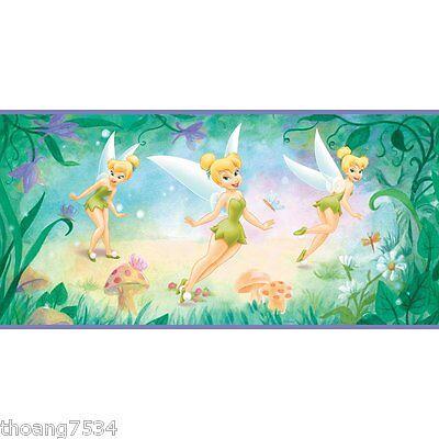 - DISNEY Tinkerbell Fairy Garden Butterfly Purple Peel Self Stick Wallpaper Border