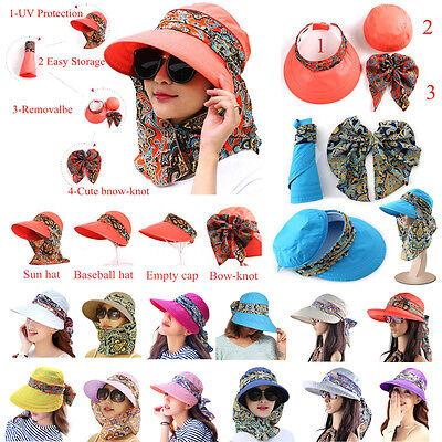 Sun Visor Hats For Women New Neck Flap Wide Brim UV Protection Packable Cap