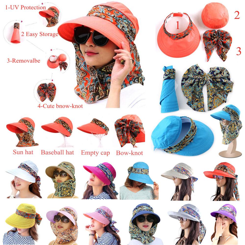 Sun Visor Hats For Women New Neck Flap Wide Brim UV Protecti