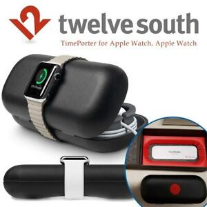 LIKE NEW Twelve South TimePorter for Apple Watch, Apple Watch accessory travel case + bedside charging stand (black) ...