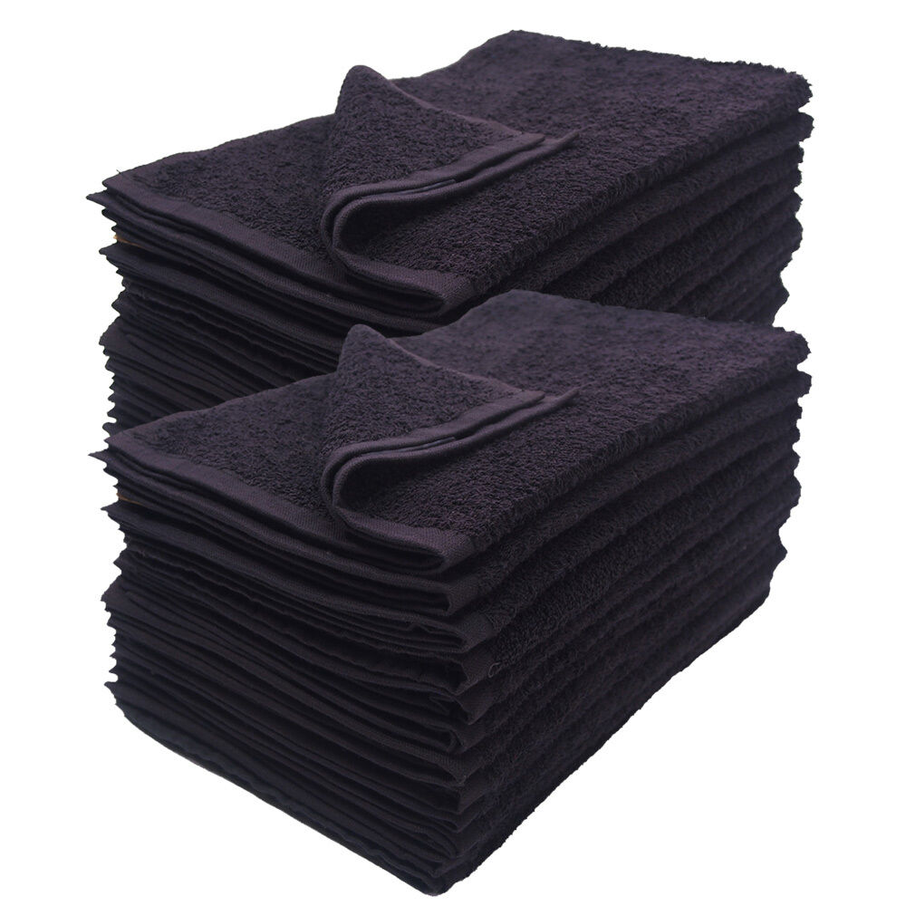 12-pack black 16x27 inches cotton salon towels soft absorben