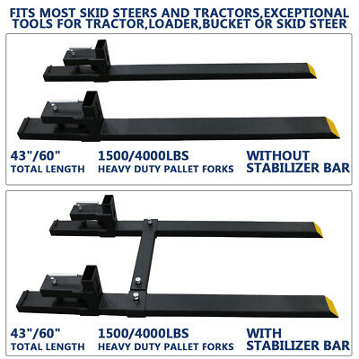 60 4000lbs Clamp On Pallet Forks Loader Tractor Heavy Duty Wstabilizer Bar Us
