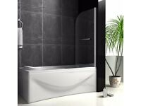 800x1400mm 180° Pivot Curved 1 Panel Single Shower Glass Bath Screen With Towel Rail - CHROME