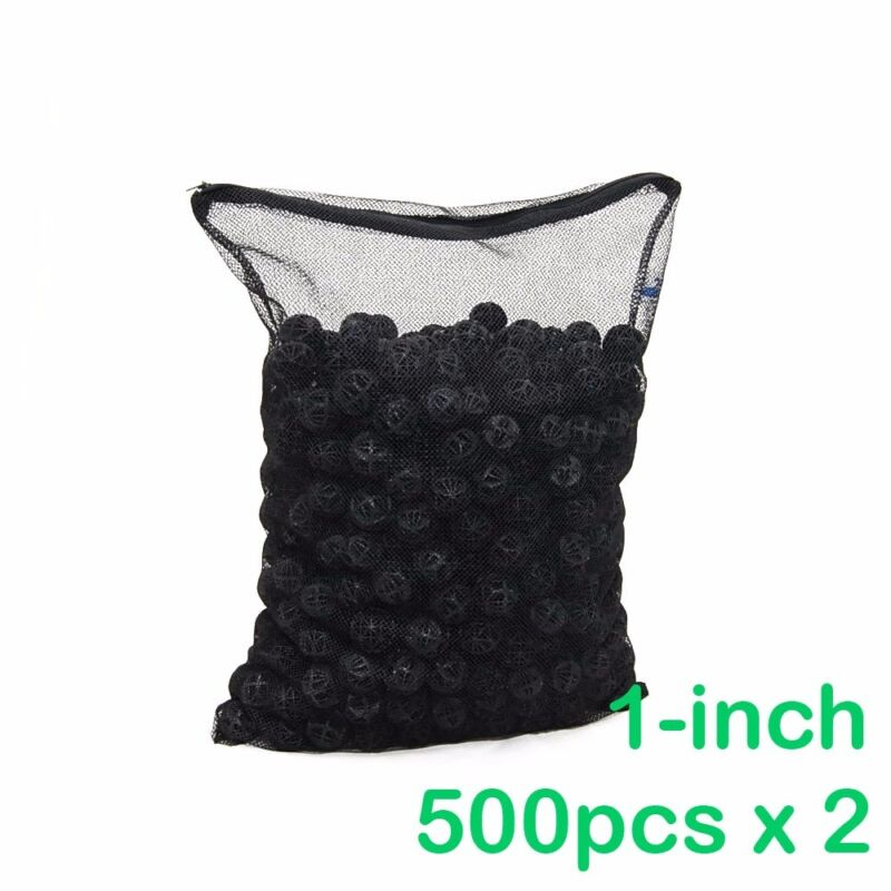 """1000pcs Aquarium 1"""" Bio Balls Filter Media Free Media Bag New Design"""