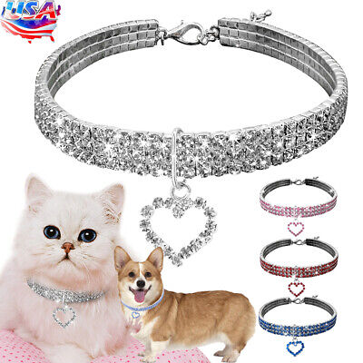 Pets Collar Rhinestone Diamante Bling Cat Dog Puppy Necklace Charm Heart Pendant Heart Dog Pet Collar Charm