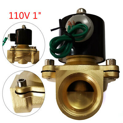 1 Npt 110v 120v Volt Ac Electric Solenoid Valve Brass Water Air Gas Nc 1 Inch