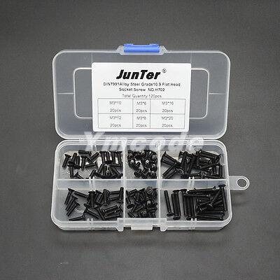120pcs M3 High Tensile Socket Flat Head Screws Allen Bolts Assortment Kit H702