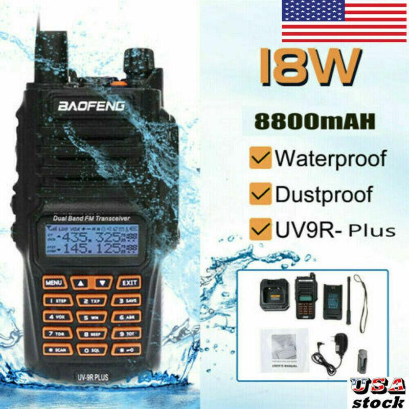 Baofeng 18W UV-9R Plus 2 Way Walkie Talkie UHF VHF Long Range Waterproof 8800mAh