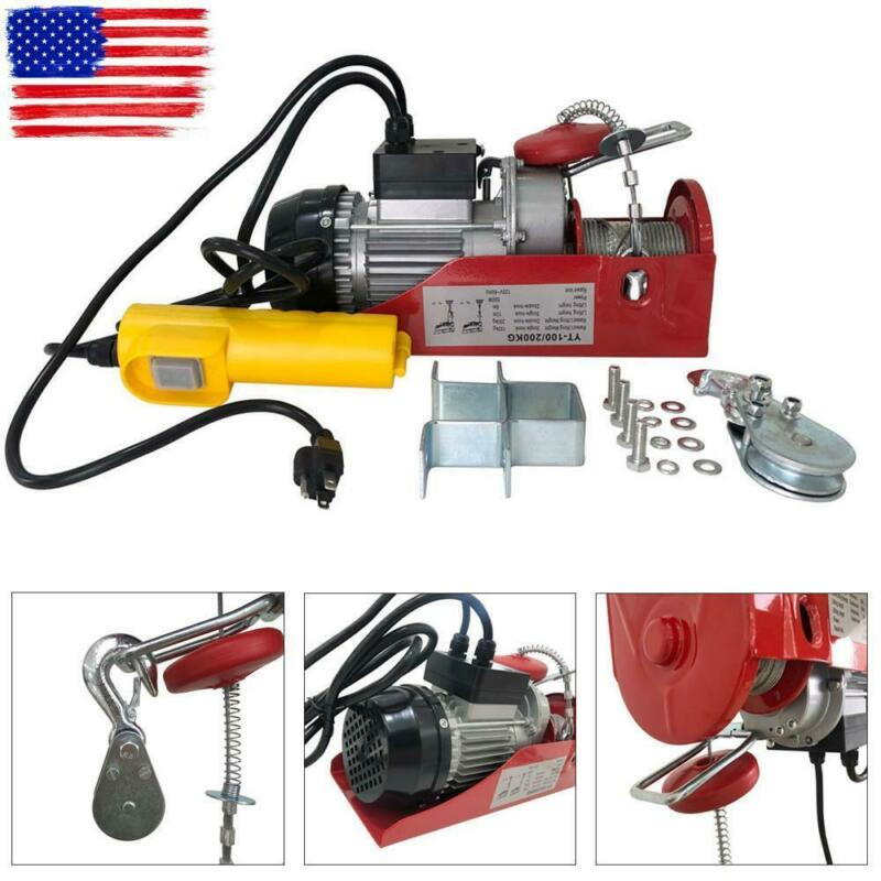 440Lb Electric Hoist Winch Lifting Engine Crane Garage Hanging Cable Lift Hook