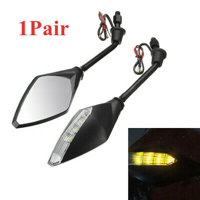 2PCS LED Turn Signal Lights Indicators Motorcycle Rear View Mirrors ABS Plastic