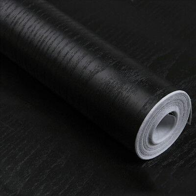 Vinyl Black Wood Grain Wallpaper Self Adhesive Wall Paper Furniture Stickers Black Vinyl Self Adhesive