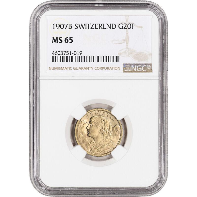 1907 B Switzerland Gold 20 Francs - NGC MS65