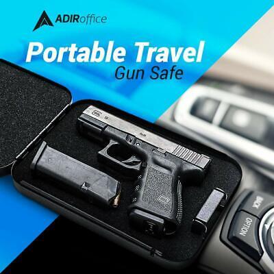 Portable Travel Gun Safe Case Pistol Handgun Valuables Lock Box Metal Secure