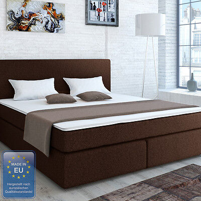 designer boxspringbett bett hotelbett polsterbett stoff braun 180x200 cm betten mit matratze. Black Bedroom Furniture Sets. Home Design Ideas
