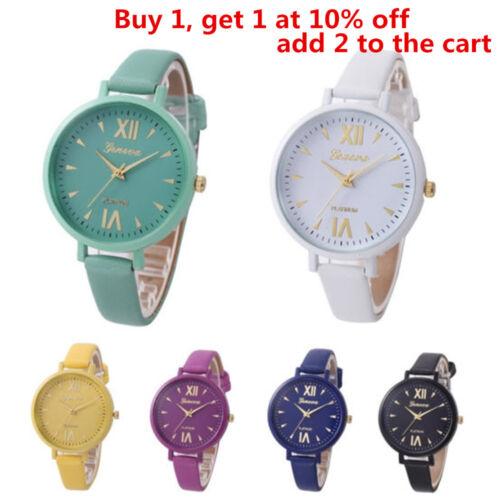 Fashion Women Geneva Roman Watch Lady Leather Band Analog Quartz Wrist Watch #uk