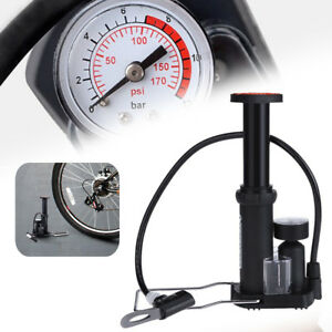 Portable Floor Track Pump With Gauge Bicycle Bike Tyre Football 170PSI Schrader