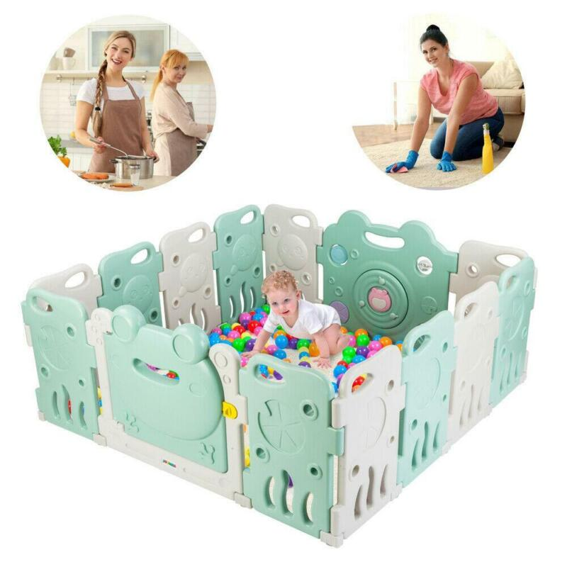 14 Panel Foldable Playpen Baby Safety Play Yard with Activity Wall In-Outdoor
