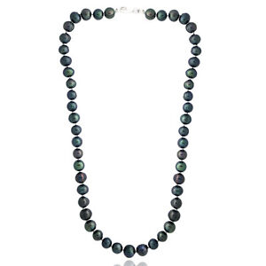 Peacock Freshwater Cultured 8-9mm Pearls Necklace, 18