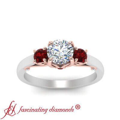 3 Stone Underneath Scroll Engagement Ring With 1 Carat Round Cut Diamond & Ruby 2