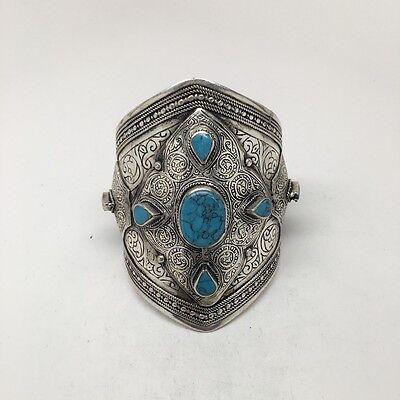 Big Vintage Afghan Turkmen Tribal Oval Blue Turquoise Inlay cuff bracelet, BR29