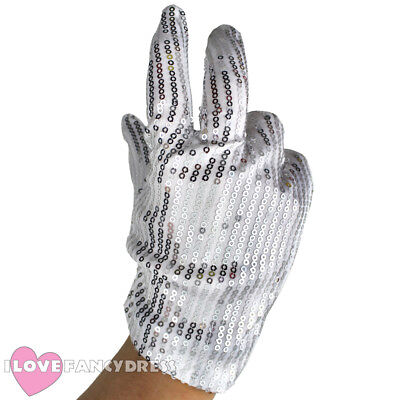 SEQUIN GLOVE BILLIE JEAN FANCY DRESS SPARKLY JACKO MJ COSTUME ACCESSORY ADULTS
