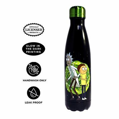 🔥 RICK AND MORTY WATER BOTTLE GLOW IN THE DARK STAINLESS STEEL JUST FUNKY NEW