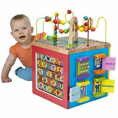 My Busy Town Wooden Toddler Activity Cube Kids Toys Learning