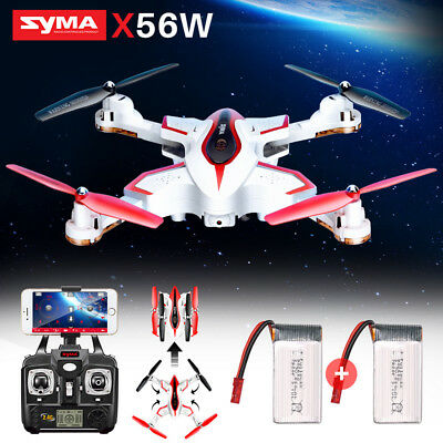 Syma X56W Foldable 720P HD Camera Drone Wifi FPV App RC Quadcopter 2 Batteries