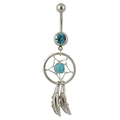 Belly Button Ring DREAM CATCHER Turquoise Bead 14g Stainless Steel Body Jewelry